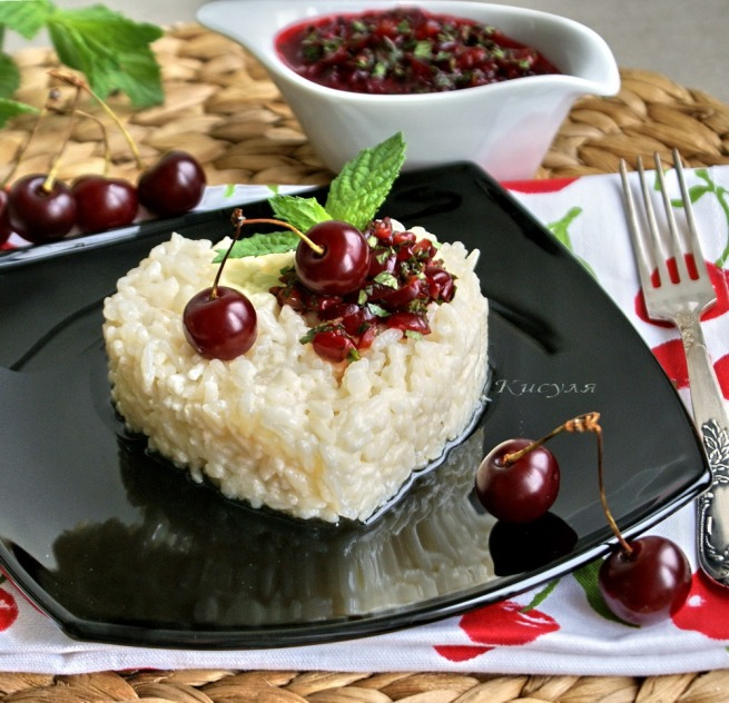 Risotto with coconut milk and mint pesto with cherry