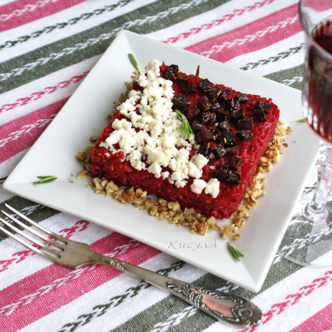 Beet risotto with goat cheese and walnuts