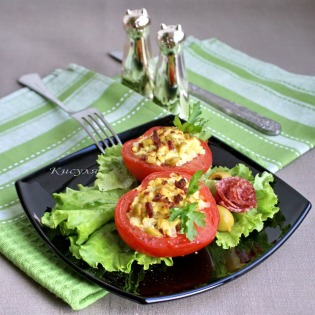 tomatoes stuffed with olives and sausage