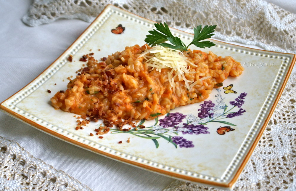 Risotto with sweet potato and crispy bacon
