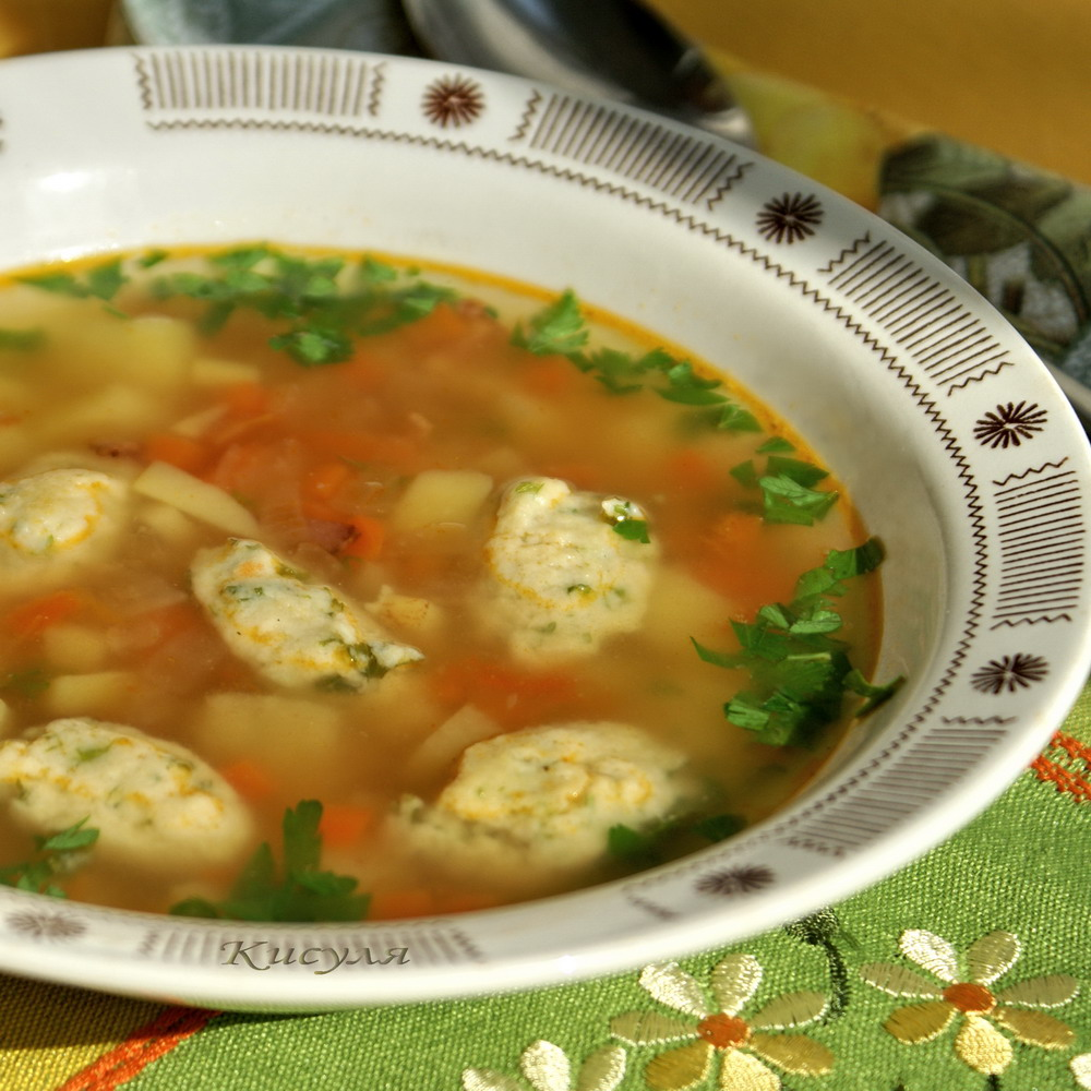 vegetable soup with sweet corn dumplings
