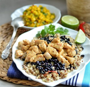 Chicken Cuban with black beans, quinoa and spicy mango
