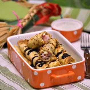 pancake rolls stuffed with
