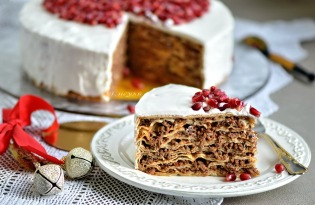Pancake cake with minced meat